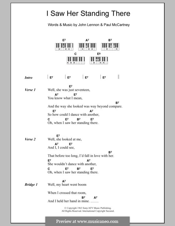 I Saw Her Standing There (The Beatles): Lyrics and piano chords by John Lennon, Paul McCartney