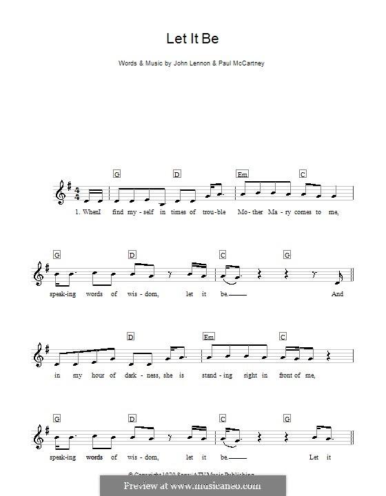 Let it Be (The Beatles): For keyboard by John Lennon, Paul McCartney