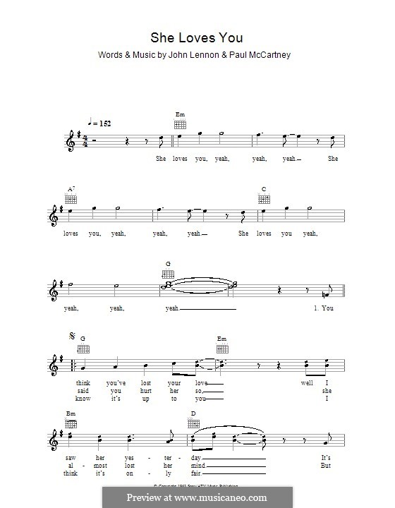 She Loves You (The Beatles): Melody line, lyrics and chords by John Lennon, Paul McCartney