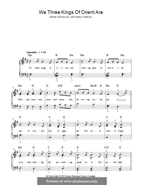 We Three Kings of Orient are, for Piano: Version for easy piano by John H. Hopkins Jr.