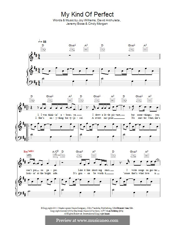 My Kind of Perfect (David Archuleta): For voice and piano (or guitar) by Cindy Morgan, Jeremy Bose, Joy Williams