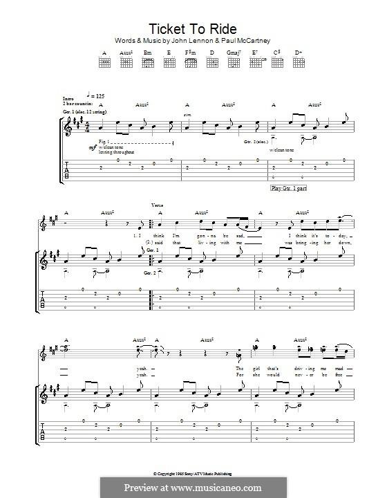 Ticket to Ride (The Beatles): For guitar by John Lennon, Paul McCartney