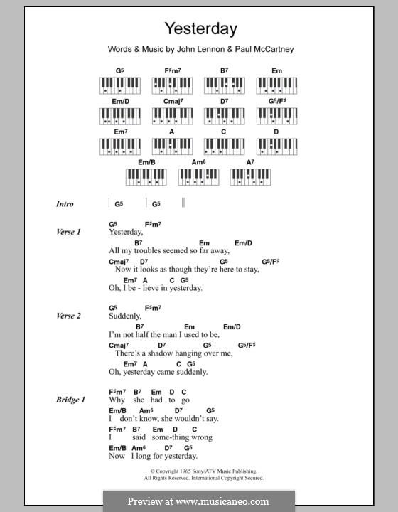 Yesterday (The Beatles): Lyrics and piano chords by John Lennon, Paul McCartney