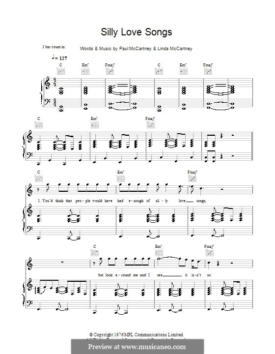 Silly Love Songs (Wings): For voice and piano (or guitar) by Linda McCartney, Paul McCartney