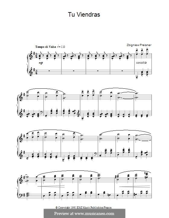 Tu Viendras (from La Double Vie De Veronique): For piano by Zbigniew Preisner