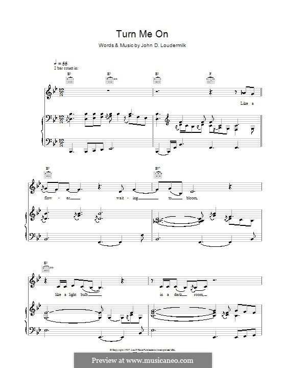 Turn Me On: For voice and piano (or guitar) by John D. Loudermilk