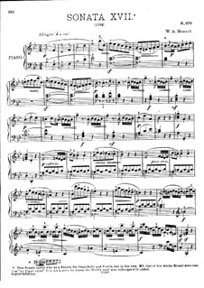 Sonata for Piano No.17 in B Flat Major, K.570: For a single performer by Wolfgang Amadeus Mozart