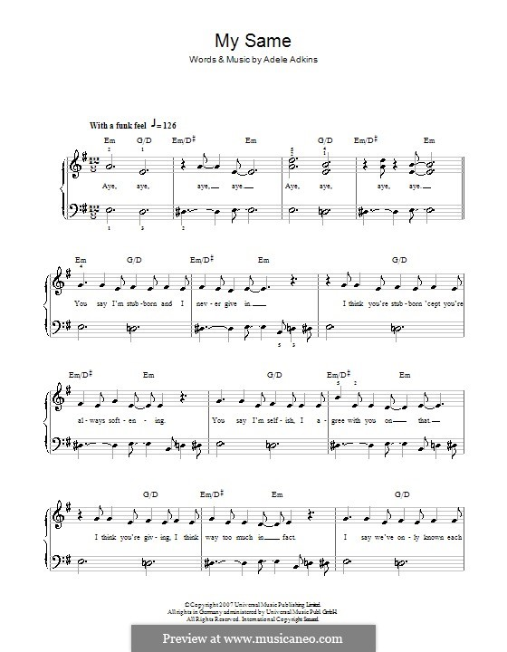 My Same: For easy piano by Adele
