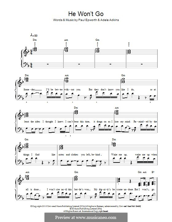 He Won't Go: For easy piano by Adele, Paul Epworth