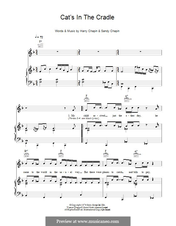 cats in the cradle piano sheet music - Piano Ideas