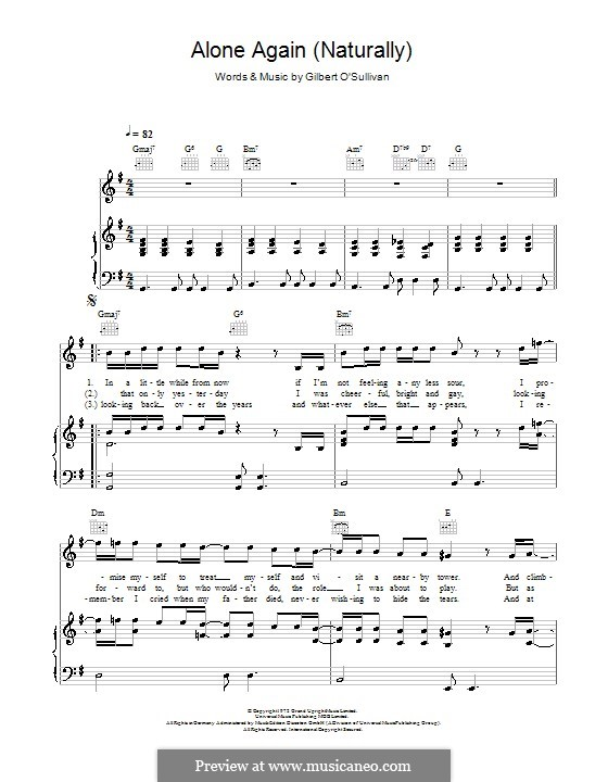 Alone Again (Naturally): For voice and piano (or guitar) by Gilbert O'Sullivan
