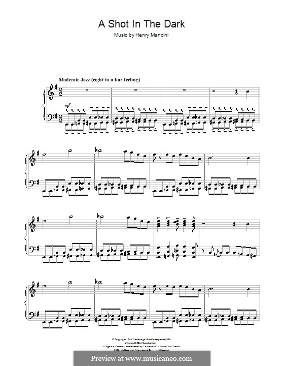 A Shot in the Dark: For piano by Henry Mancini