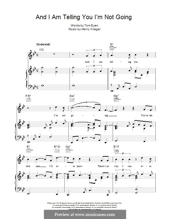And I am Telling You I'm Not Going (Jennifer Hudson): For voice and piano (or guitar) by Henry Krieger