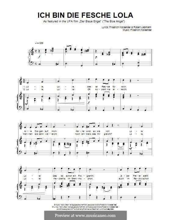 Ich Bin Die Fesche Lola By F Holländer Sheet Music On Musicaneo