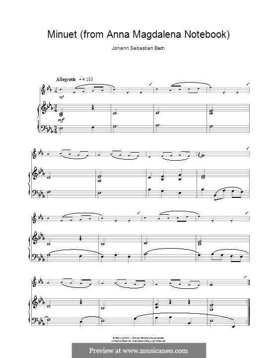 No.4 Minuet in G Major, BWV Anh.114: For clarinet and piano by Johann Sebastian Bach