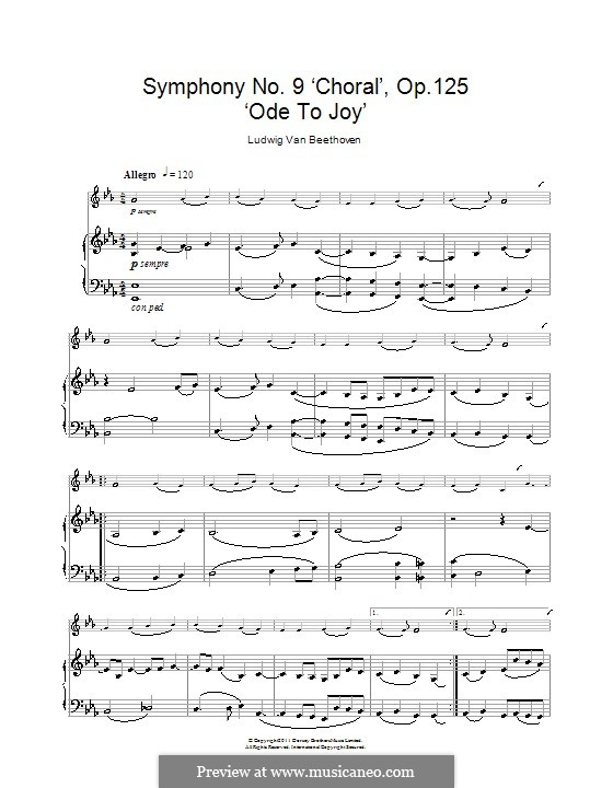 Ode to Joy: Version for clarinet and piano by Ludwig van Beethoven