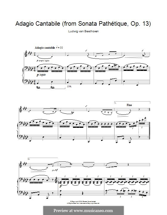 Movement II: Version for clarinet and piano by Ludwig van Beethoven