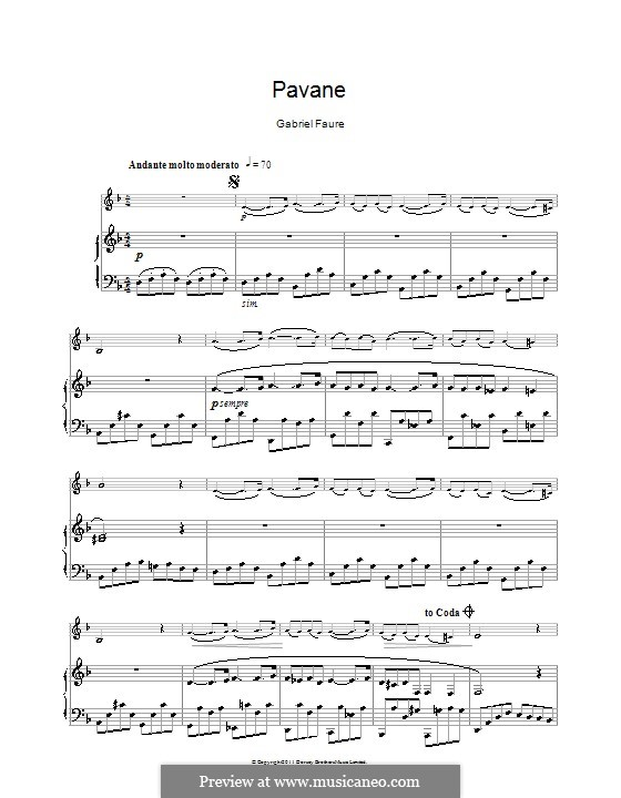 Pavane, Op.50: For clarinet and piano by Gabriel Fauré