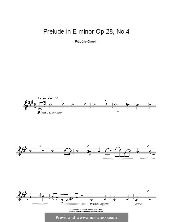 No.4 in E Minor: For clarinet by Frédéric Chopin