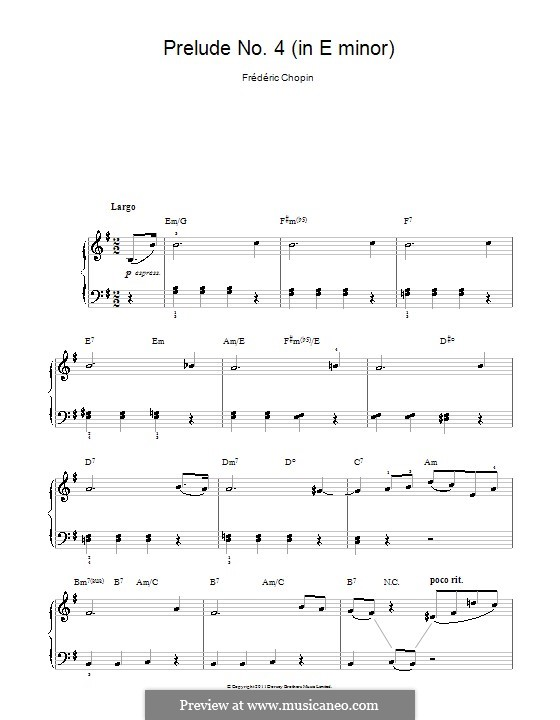 No.4 in E Minor: For easy piano by Frédéric Chopin