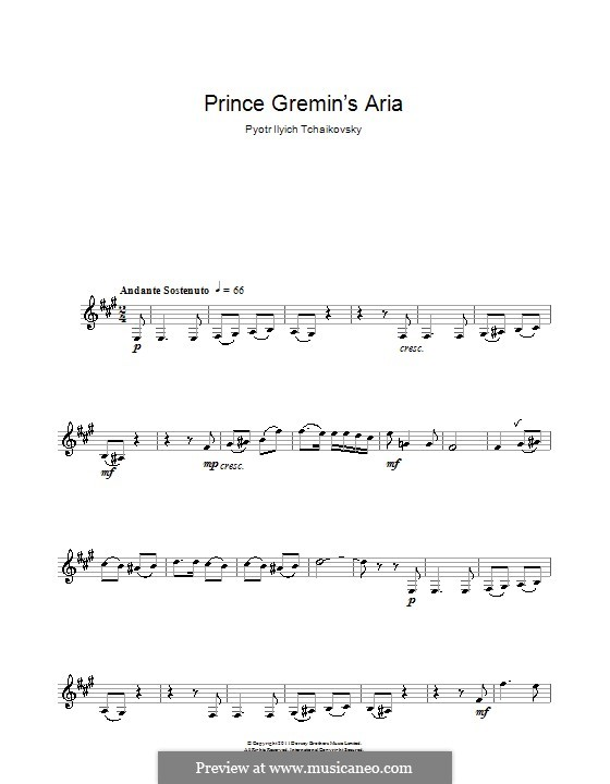 Act III, No.20a Gremin's Aria: Arrangement for clarinet and piano – solo part by Pyotr Tchaikovsky