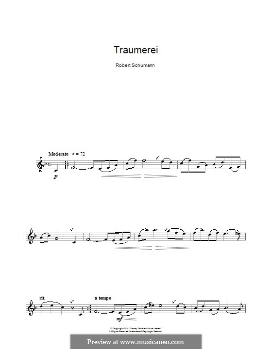 No.7 Träumerei (Dreaming): For clarinet by Robert Schumann