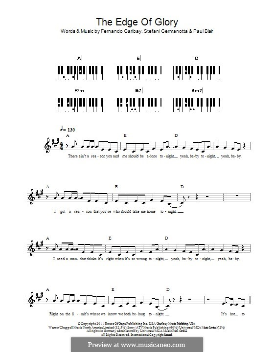 The Edge of Glory (Lady Gaga): For keyboard by Fernando Garibay, Paul Blair, Stefani Germanotta
