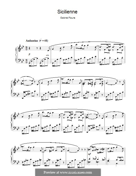 Sicilienne for Cello and Piano, Op.78: Version for piano by Gabriel Fauré