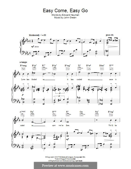 Easy Come, Easy Go: For voice and piano (or guitar) by John W. Green