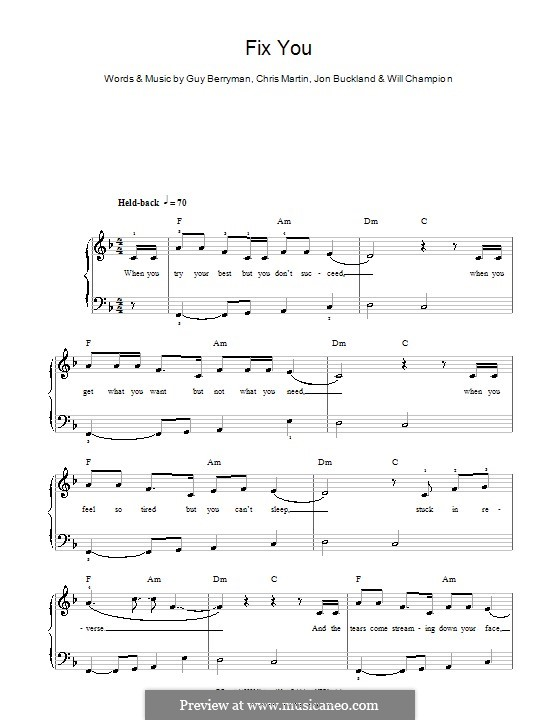 Fix You (Coldplay): For easy piano by Chris Martin, Guy Berryman, Jonny Buckland, Will Champion