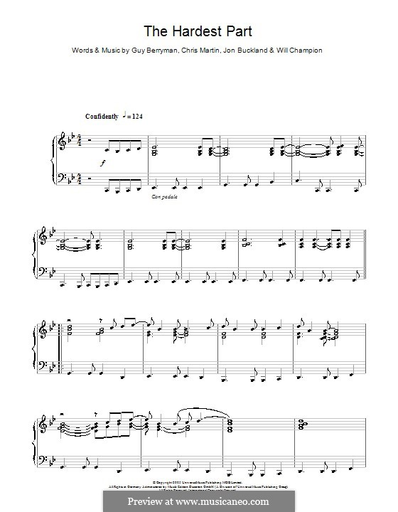 The Hardest Part (Coldplay): For piano by Chris Martin, Guy Berryman, Jonny Buckland, Will Champion