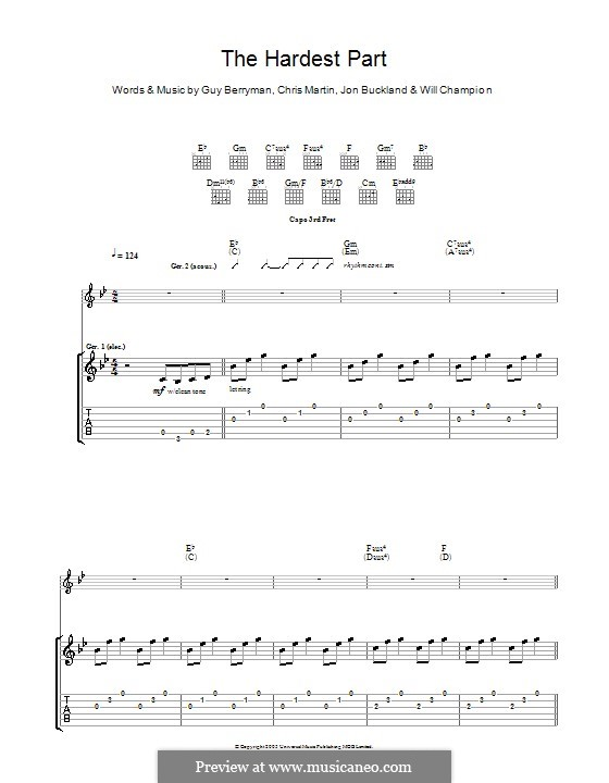 The Hardest Part (Coldplay): For guitar with tab by Chris Martin, Guy Berryman, Jonny Buckland, Will Champion