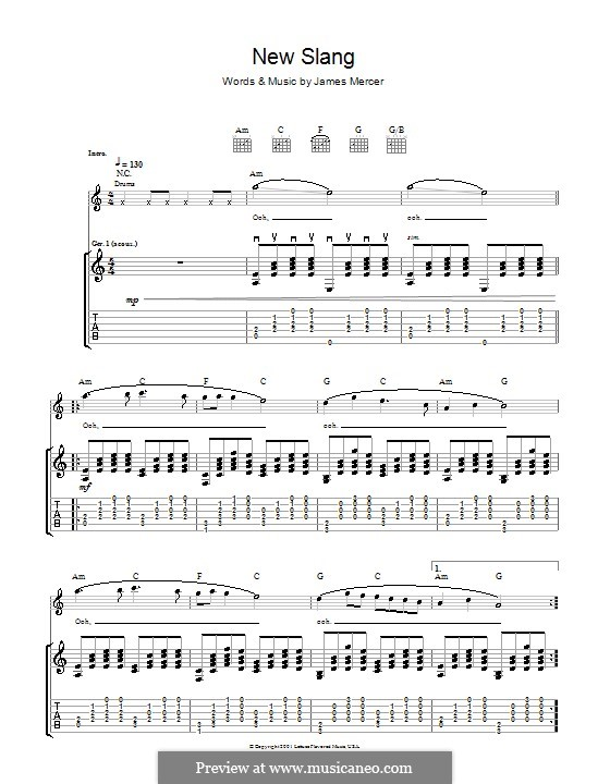 New Slang The Shins By J Mercer Sheet Music On Musicaneo