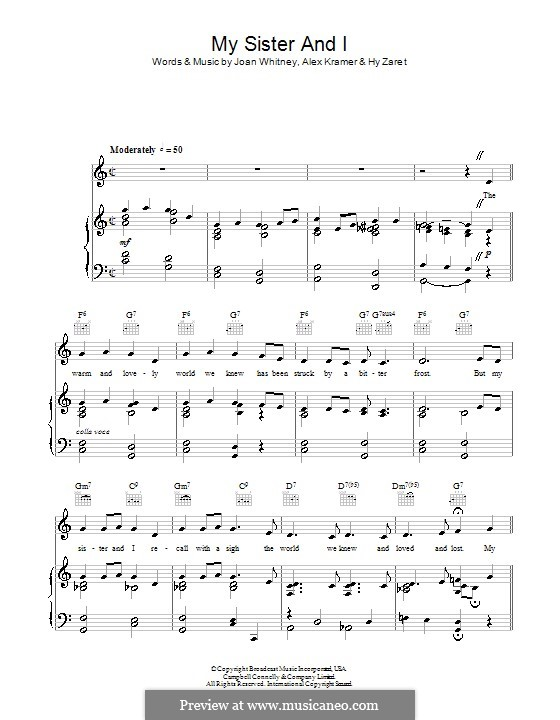 My Sister and I (Vera Lynn): For voice and piano (or guitar) by Alex Kramer, Hy Zaret, Joan Whitney