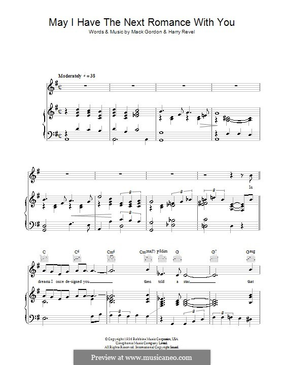 May I Have the Next Romance with You? (Jessie Matthews): For voice and piano (or guitar) by Harry Revel, Mack Gordon