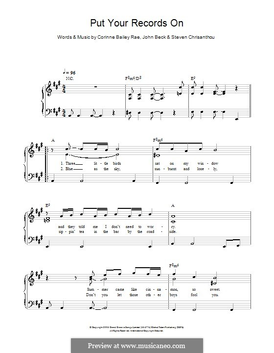 Put Your Records on (Corinne Bailey Rae): For easy piano by John Beck, Steven Chrisanthou