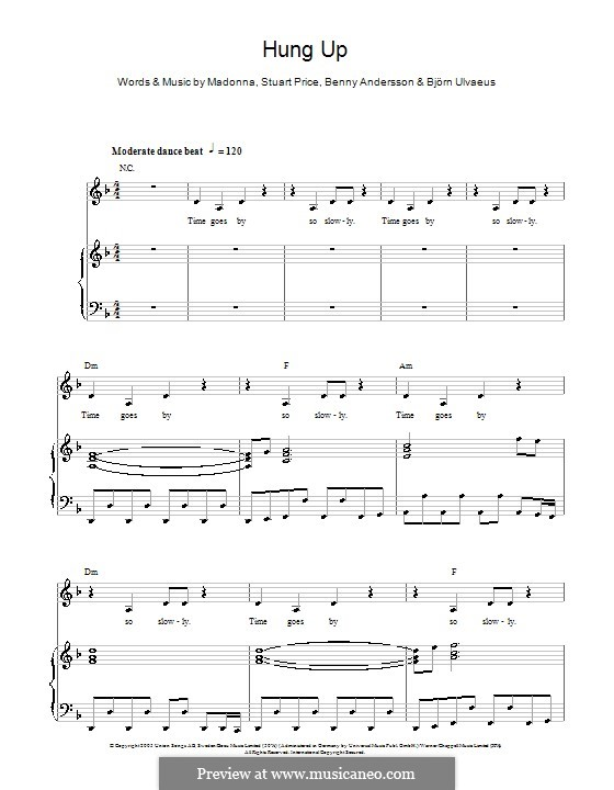 Hung Up (Madonna): For voice and piano (or guitar) by Benny Andersson, Björn Ulvaeus, Stuart Price
