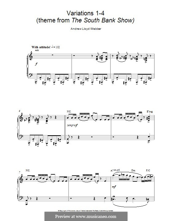 Variations 1-4 (theme from The South Bank Show): For piano by Andrew Lloyd Webber