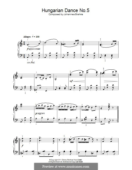 Dance No.5 in F Sharp Minor (Printable scores): For piano (A Minor) by Johannes Brahms