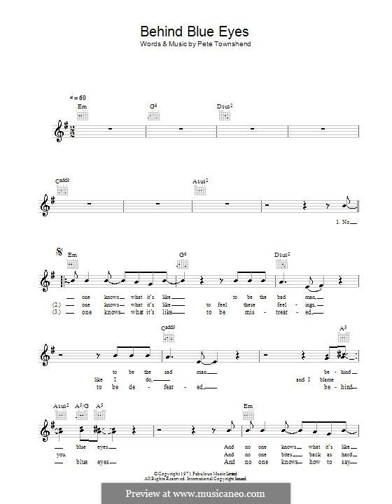 Behind Blue Eyes (Limp Bizkit): Melody line, lyrics and chords by Peter Townshend
