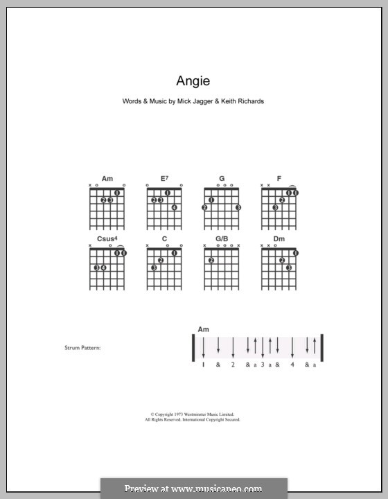 Angie (The Rolling Stones): For guitar by Keith Richards, Mick Jagger