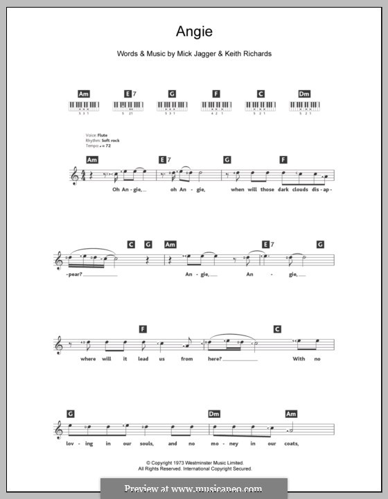 Angie (The Rolling Stones): For keyboard by Keith Richards, Mick Jagger