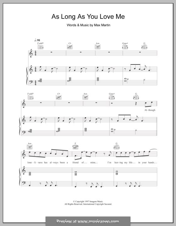 As Long As You Love Me (Backstreet Boys): For voice and piano (or guitar) by Max Martin