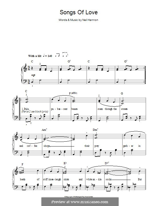 Songs of Love (The Divine Comedy): For easy piano by Neil Hannon