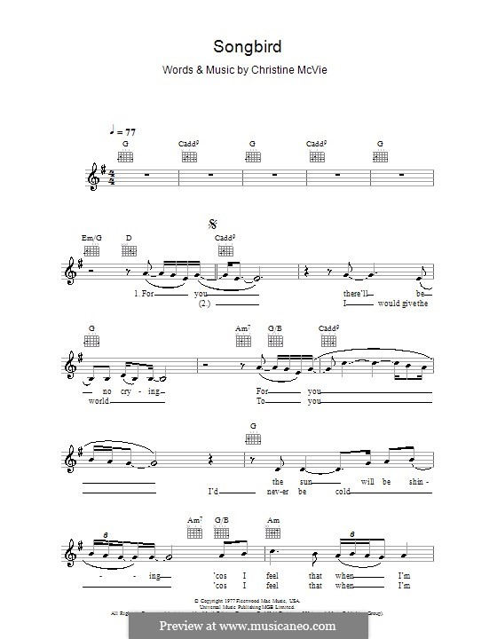 Songbird (Fleetwood Mac): Melody line, lyrics and chords by Christine McVie