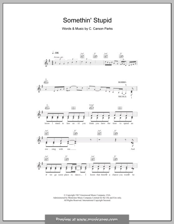 Somethin' Stupid (Frank Sinatra): Melody line, lyrics and chords by C. Carson Parks
