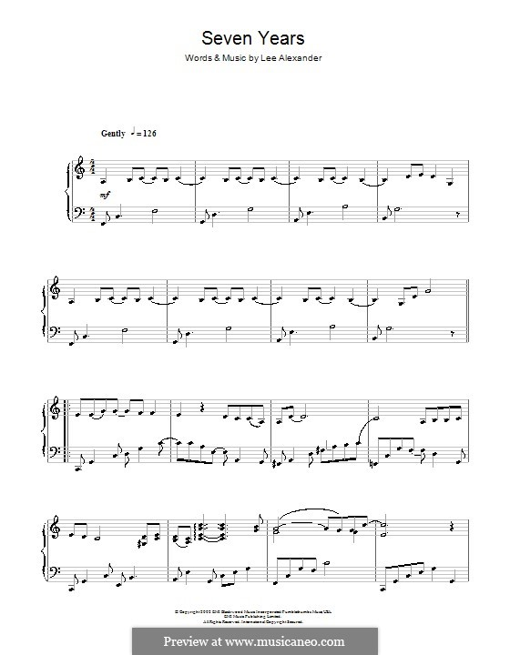 Seven Years (Norah Jones): For piano by Lee Alexander