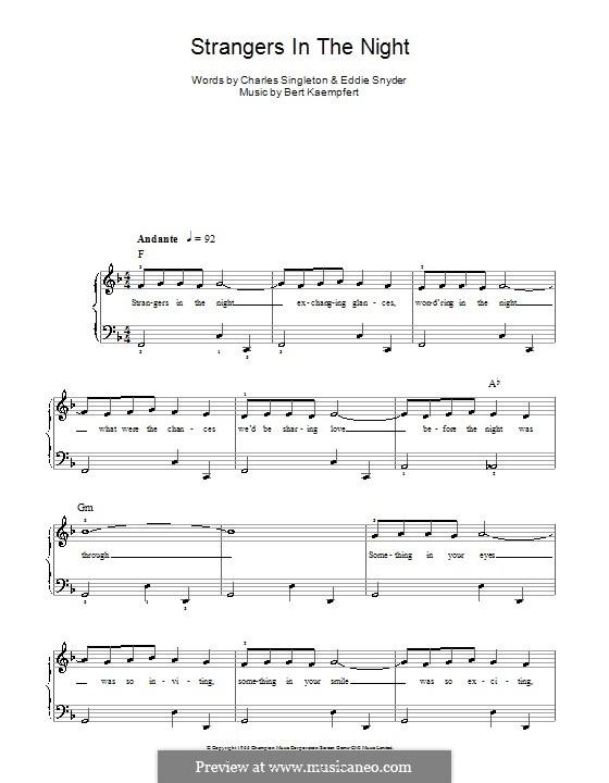 Strangers in the Night (Frank Sinatra): For easy piano by Bert Kaempfert