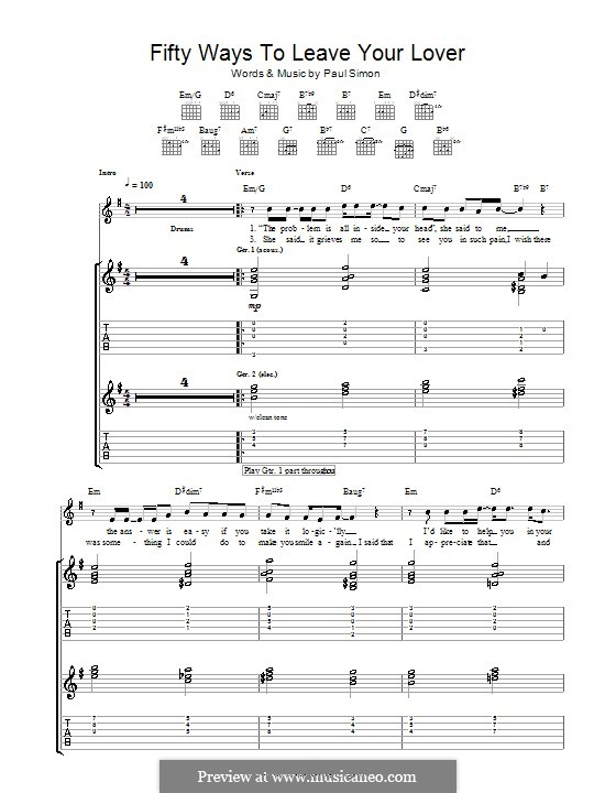 Fifty Ways to Leave Your Lover: For guitar with tab by Paul Simon
