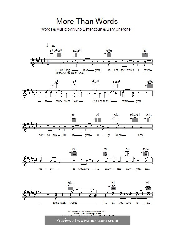 More Than Words (Extreme): Melody line, lyrics and chords by Gary Cherone, Nuno Bettencourt